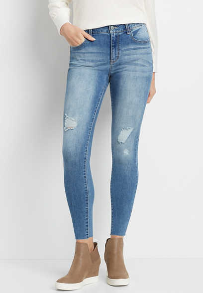 DenimFlex™ High Rise Medium Destructed Raw Hem Jegging