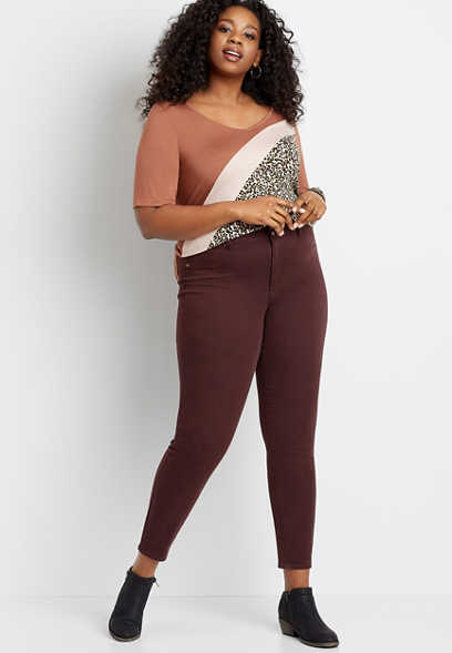 Plus Size High Rise Burgundy Double Button Jegging Made With REPREVE®