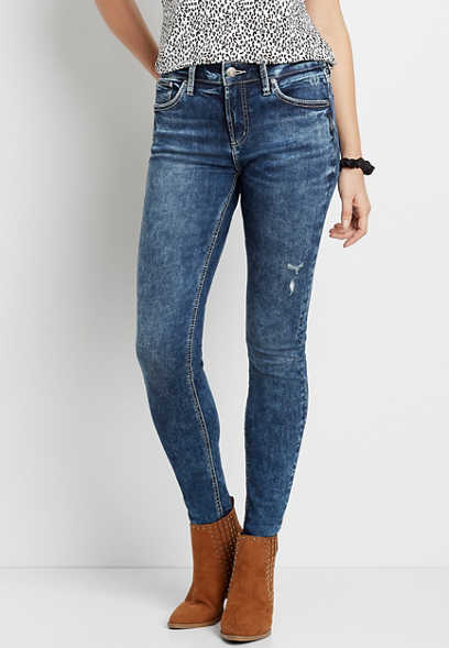 Silver Jeans Co.® Avery High Rise Dark Marble Wash Skinny Jean