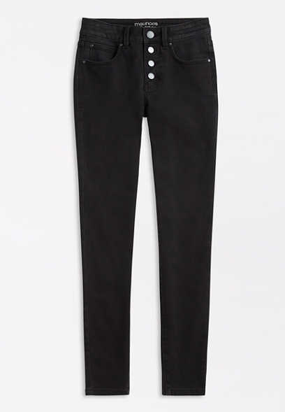 Everflex™ High Rise Black Button Fly Super Skinny Jean