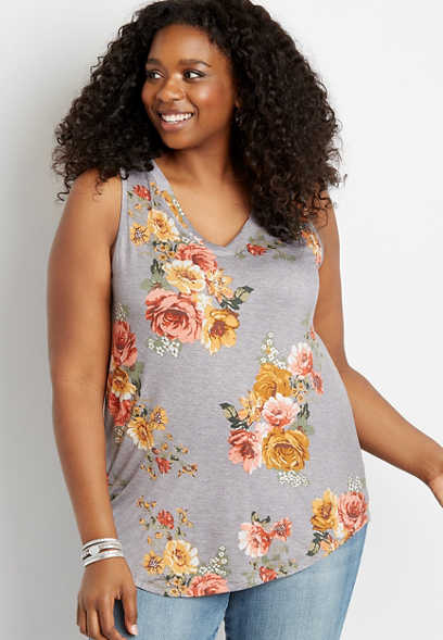 Plus Size 24/7 Heather Gray Floral V Neck Tank Top