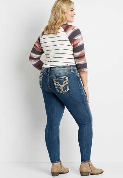 Plus Size Vigoss® High Rise Medium Gold Stitch Skinny Jean