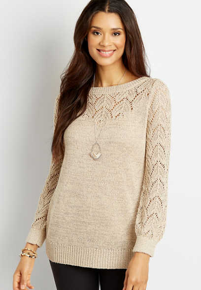 Solid Sequin Pointelle Tunic Pullover Sweater