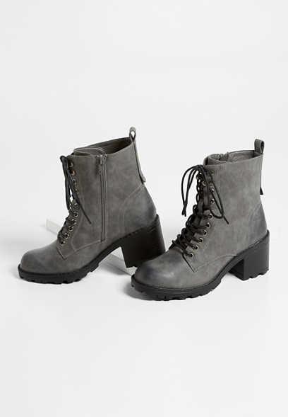 Cece Gray Lace-Up Combat Boot