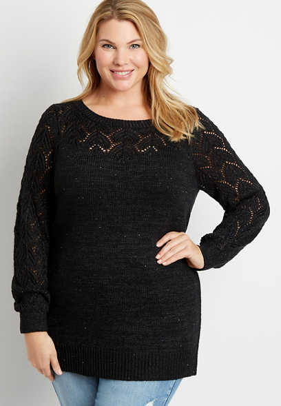 Plus Size Solid Sequin Pointelle Tunic Pullover Sweater
