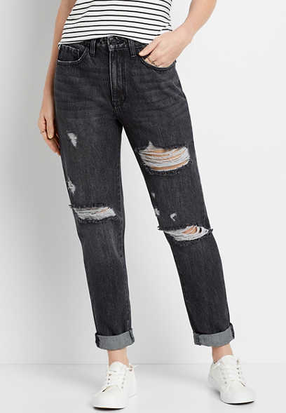 KanCan™ Super High Rise Black Wash Mom Jean