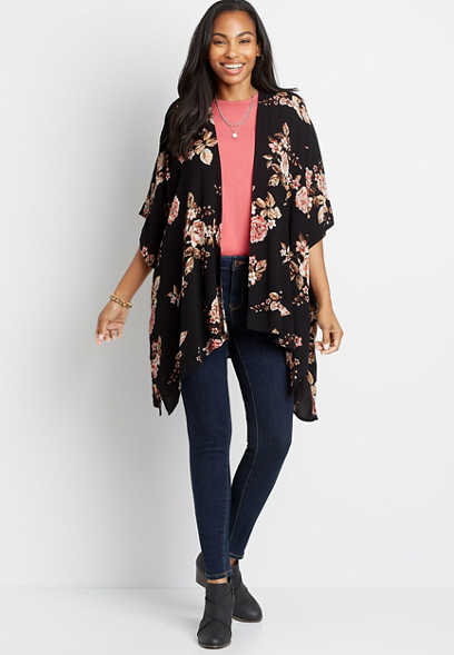 Black Floral Open Front Ruana