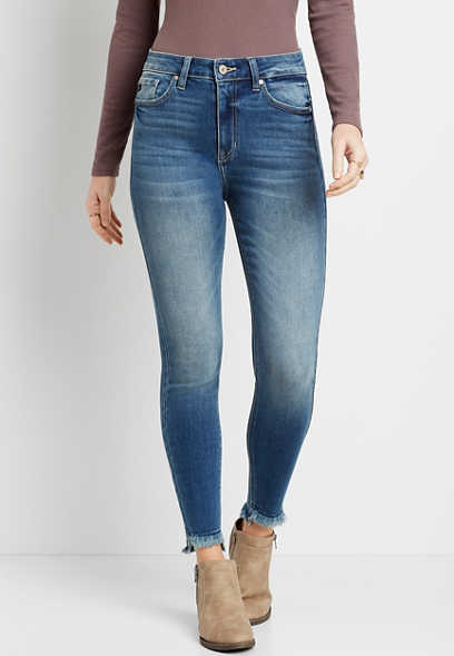 KanCan™ High Rise Curvy Medium Fray Hem Skinny Jean