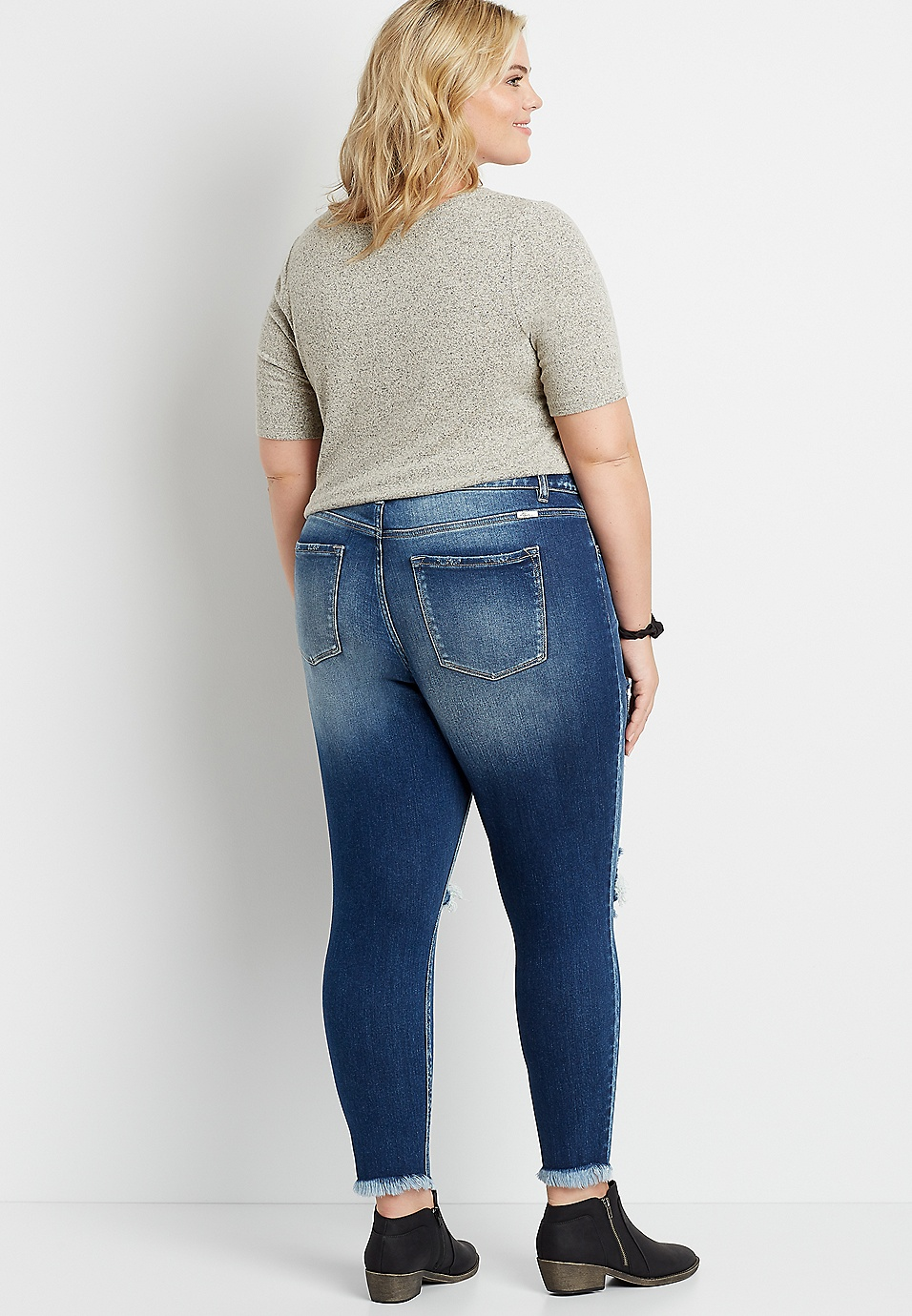 Plus Size Kancan High Rise Curvy Dark Destructed Skinny Jean Maurices