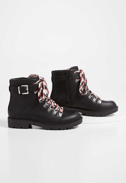 Cleo Black Multi Lace Up Hiker Boot