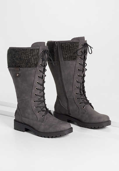 Emma Gray Knit Collar Lace Up Tall Boot