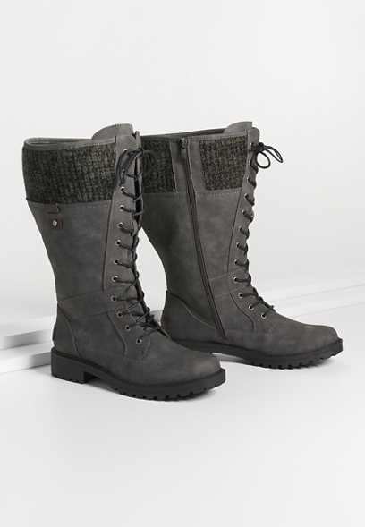 Emma Wide Calf Gray Knit Collar Lace Up Tall Boot
