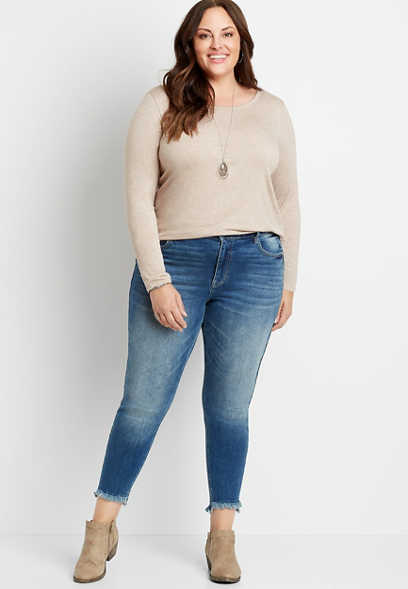 Plus Size KanCan™ High Rise Curvy Medium Tint Fray Hem Skinny Jean
