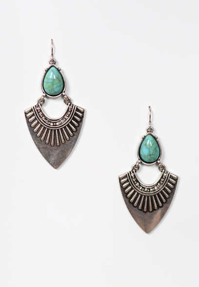 Faux Turquoise Western Drop Earrings