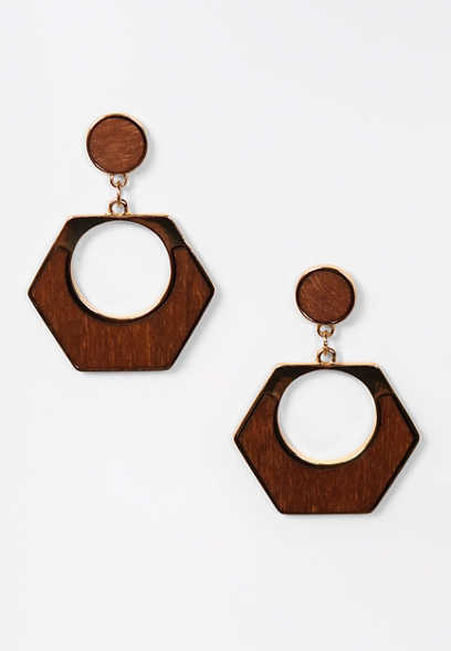Wood Hexagon Drop Earrings