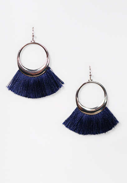 Navy Fringe Hoop Earrings