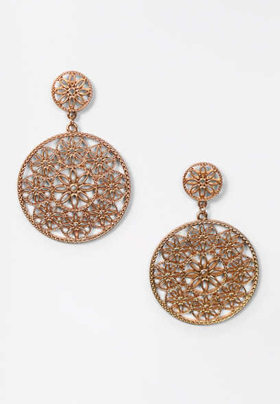 Gold Filigree Circle Post Earrings