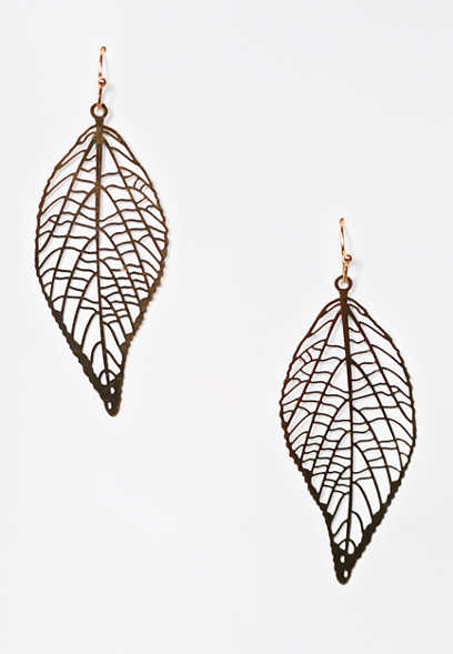 Gold Filigree Leaf Drop Earrings