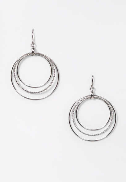 Silver Triple Hoop Drop Earrings
