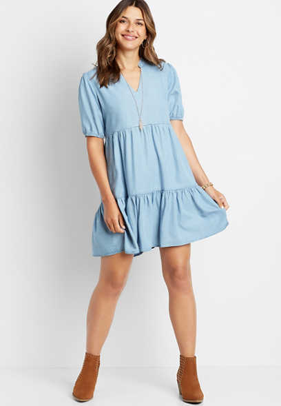Chambray Babydoll Mini Dress