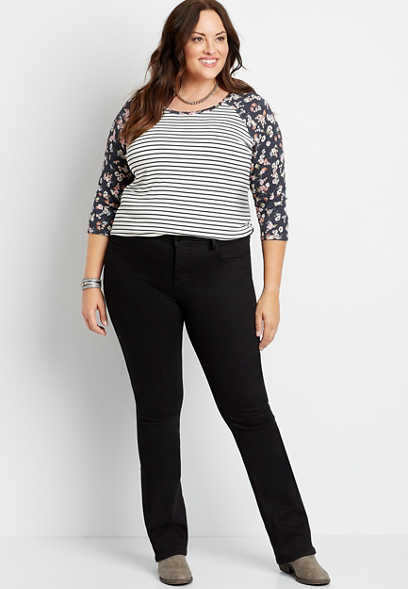 Plus Size Everflex™ High Rise Black Baby Bootcut Jean