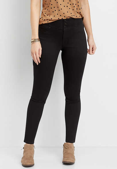DenimFlex™ High Rise Black Triple Button V Yoke Jegging