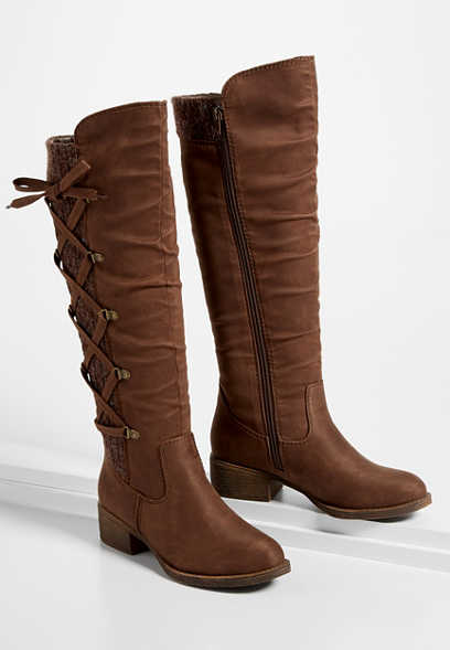 Elly Brown Lace Up Knit Side Tall Boot