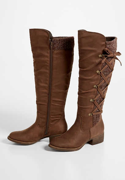 Elly Wide Calf Brown Lace Up Knit Side Tall Boot