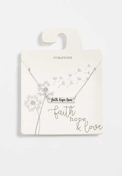 Dainty Faith Hope Love Bar Necklace