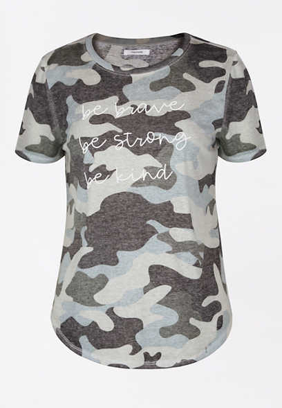 Camo Be Brave Strong Kind Graphic Tee