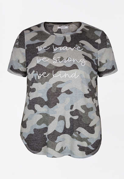 Plus Size Camo Be Brave Strong Kind Graphic Tee