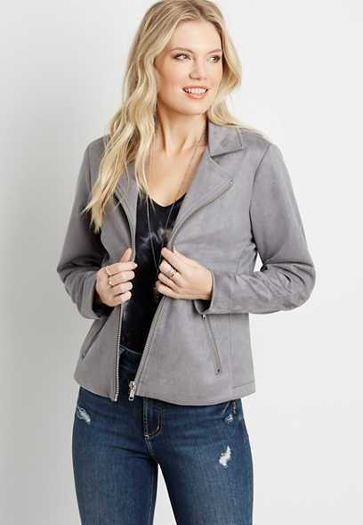 Gray Faux Suede Moto Jacket