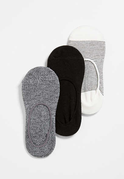 3 Pack Solid and Stripe No Show Socks