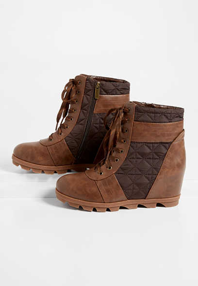 Abby Brown Quilted Lace Up Wedge