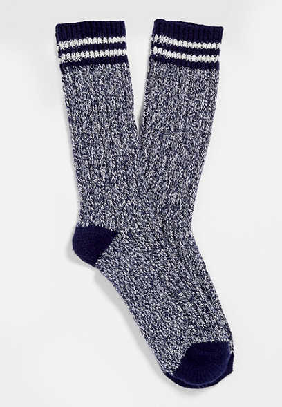 Navy Stripe Crew Sock