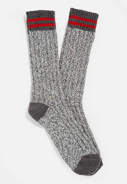 Gray Stripe Crew Sock