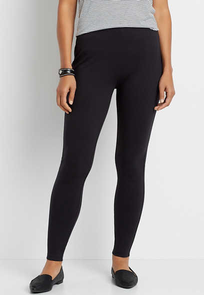 Black High Rise Ponte Knit Pull On Skinny Pant