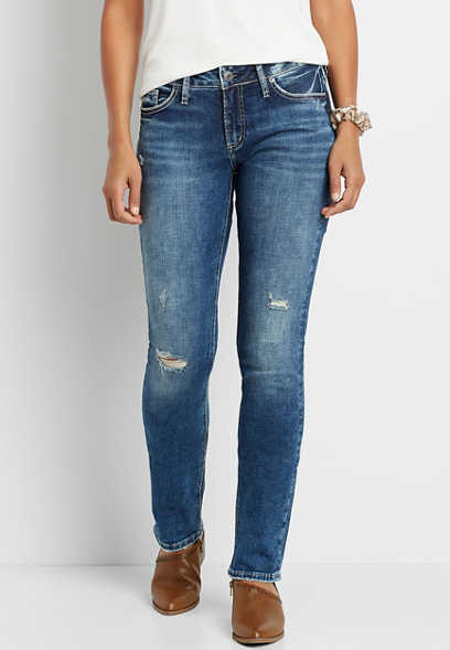 Silver Jeans Co.® Suki Marble Wash Destructed Straight Leg Jean