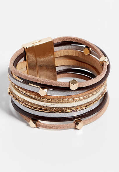 Brown and Gold Multi Row Magnetic Bracelet