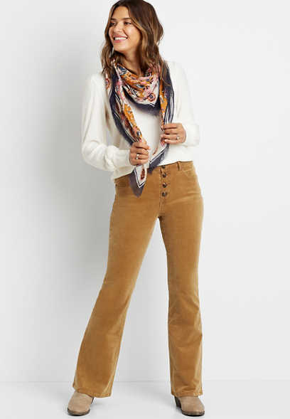 High Rise Button Fly Corduroy Flare Pant
