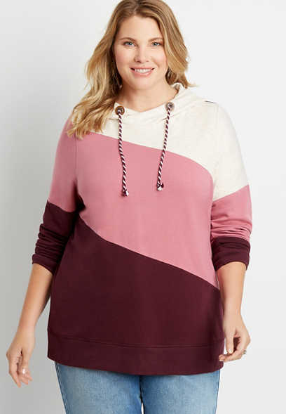 Plus Size Burgundy Colorblock Pullover Hoodie