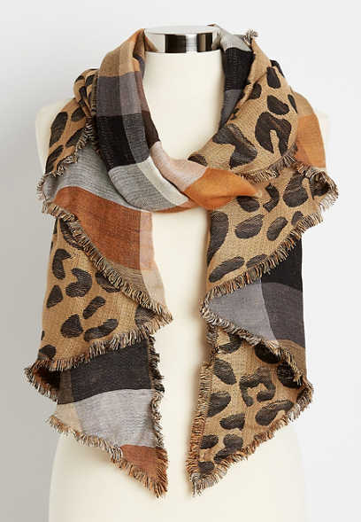 Reversible Leopard Plaid Oblong Scarf