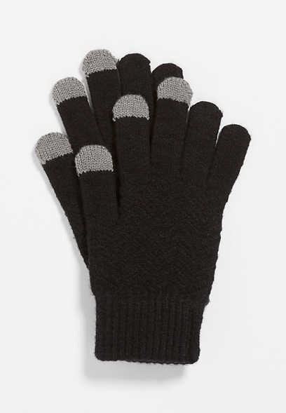 Black Finger Tech Knit Gloves