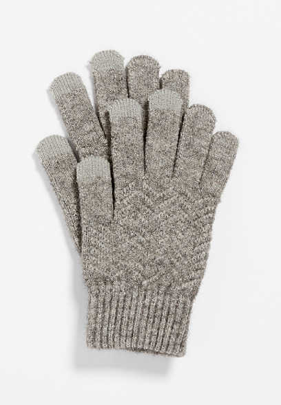 Gray Finger Tech Knit Gloves