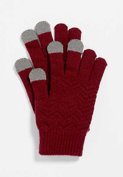 Burgundy Finger Tech Knit Gloves