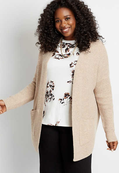 Plus Size Solid Knit Open Front Pocket Cardigan