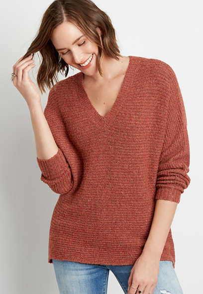 Solid Cozy V Neck Pullover Sweater