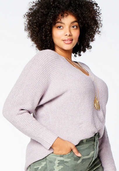 Plus Size Solid Cozy V Neck Pullover Sweater