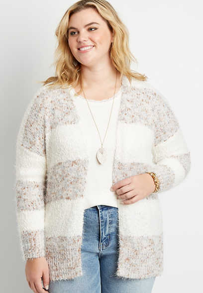 Plus Size White Spacedye Stripe Open Front Cardigan