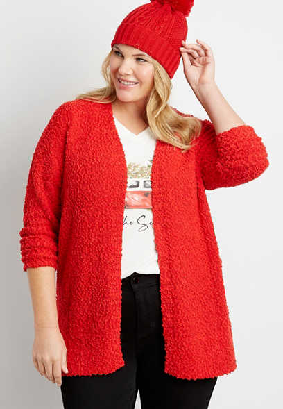 Plus Size Solid Open Front Cardigan